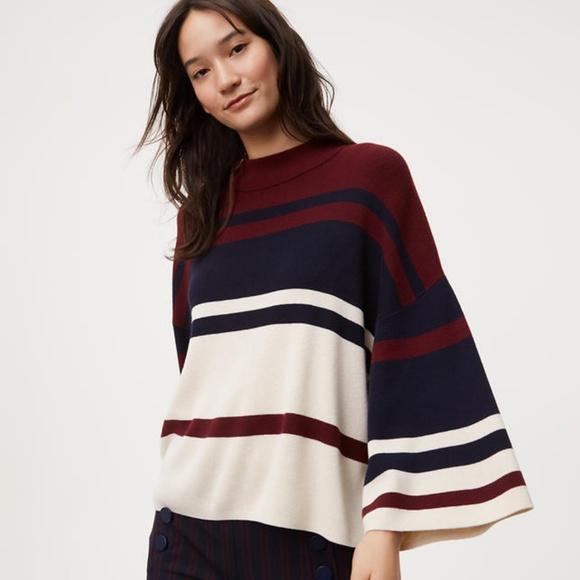 052dea2548 Loft Striped Drop Shoulder Sweater Knit Sweater M